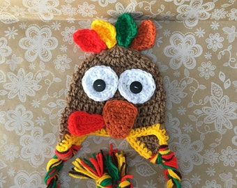 Hand crocheted baby turkey hat thanksgiving hat *arrival by 11/23 if ordered by 11/20* in sizes newborn through toddler