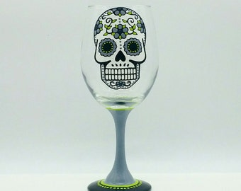 Sugar Skull Hand Painted Wine Glass Dia de los Muertos Day of the Dead Grey Gray Green