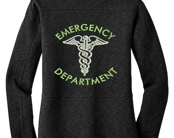 EMERGENCY DEPARTMENT Jacket | Women's RN Nurse Jacket with Caduceus Black Jacket | er Nurse | er nurse | ems | nurse jacket | nurse shirt