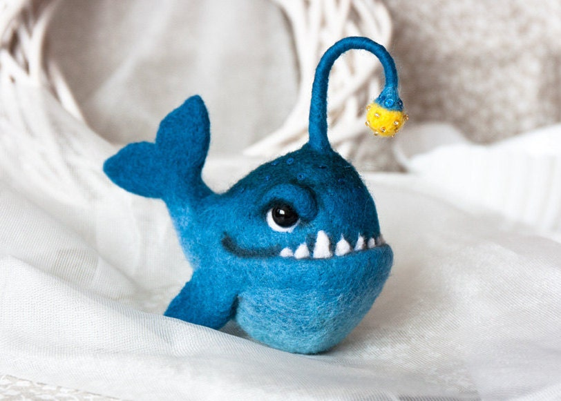 Anglerfish creepy fish deep sea fish felt fish handmade toy for Angler fish toy