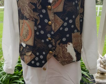 Vintage 80's attached vest Seinfeld Elaine button front shirt