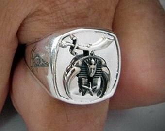 Shriner Bespoke Masonic Ring Sterling Silver Oxidized Emblem