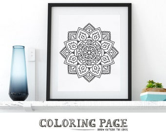 Coloring Page Mandala Floral Adult Coloring Book AntiStress Coloring Art Therapy Instant Download Coloring Pages Printable Coloring Wall Art