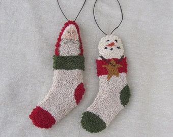 Punch Needle Pattern ~ Stocking Ornaments ~ Santa ~ Snowman ~ punchneedle pdf pattern ~ needle punch epattern ~ Christmas Punch Needle