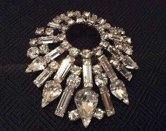Jay Flex Sterling Silver Vintage Rhinestone Brooch