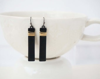 Black Bar and Gold Wire Wrapped Earrings