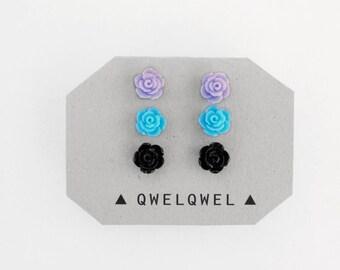 Pastel Rose Earrings // Pastel Goth Stud Earring Set // Violet, Blue, and Black Roses // Soft Grunge Goth Punk Kawaii Emo Studs Set