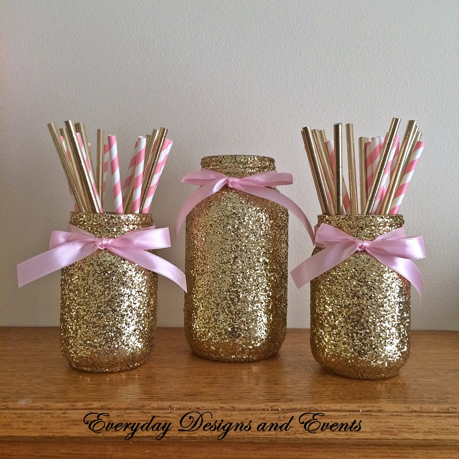 Mason Jar Pink Gold, Baby Shower Ideas, Baby Shower Decorations, Wedding,  Wedding Decorations, Wedding Centerpieces, Party Supplies, Decor