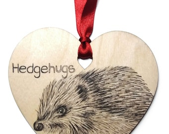 "Hedgehog home decoration, Unique hand drawn wooden heart gift, Valentines / Anniversary / Birthday message ""Hedgehugs""."