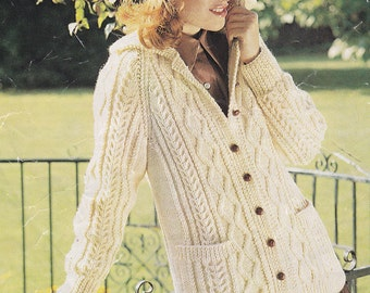 PDF womens aran cable cardigan jacket sizes 34 to 40 inches vintage knitting pattern pdf INSTANT download sweater pattern only pdf 1970s