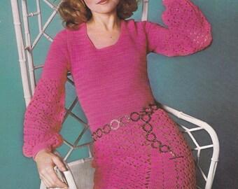 PDF crochet dress vintage crochet pattern pdf INSTANT download pattern only pdf 1970's