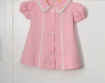 24 months: Pink Baby Dress, Inset Lace, Button Front, 1940s Girl's Dress