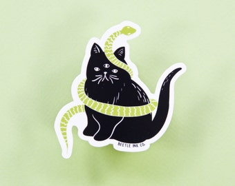 Cat Vinyl Sticker - 1 Piece - 3-Eyed Cat - Die Cut Vinyl Sticker - Hand Drawn Sticker - Cat Sticker - Snake Sticker - Cat Lady Sticker -Cute