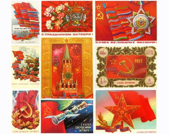 Glory to October, Pick from set,  October Revolution, Kremlin, Holiday, Soviet Union Vintage Postcard, USSR, Used Postcards, 1970s-1980s