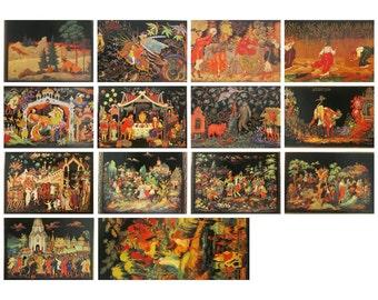 Palekh, Pick from Set, Soviet Postcards, Russian Lacquer, Art, Miniature, Print,  Vintage Postcard, USSR, Unused Postcards, 1982