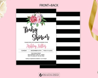 Black and white stripes floral baby shower invitation printable - Kate Baby shower invitation- watercolor floral baby shower - #006