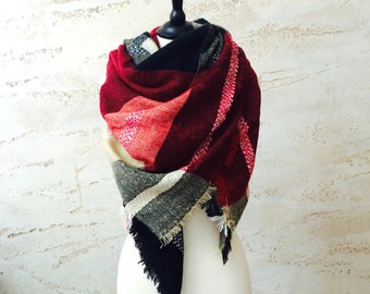 Women's Scarves Gift For Her, Plaid Scarf, Gift For Her, Blanket Scarf, Pashmina Scarf, Winter Scarf, Gift For Women, Christmas Gift