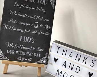 Unplugged Wedding Ceremony sign. No photos during the ceremony wedding print A3 A4 size