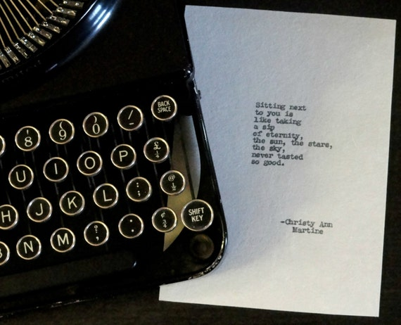 Gifts for Her - Romantic Girlfriend Gift - Eternity Love Poem Poetry Typed by Poet with Antique Typewriter onto Handmade Paper