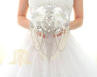 "Ready to ship 7"" BROOCH BOUQUET off white, ivory silver bling jeweled  colour for luxury bride"