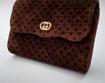 GUCCI Vintage Brown Suede Clutch Bag. Italian Designer Purse.