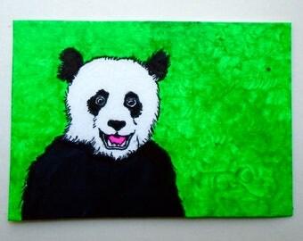 "Hello Panda Bear #221 (ARTIST TRADING CARDS) 2.5"" x 3.5"" by Mike Kraus"