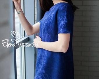 Felted dress High Fashion Dress Bohemian Women Dress Coctail dress  Mani  Women's Clothing Hand Made Eco Fashion Nuno