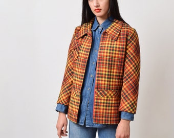 1960s Plaid Wool Jacket in Autumnal Check 60s Vintage Boxy Car Coat Mod XS S M