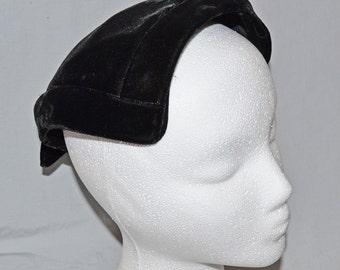 Vintage Ladies' Half-Hat - Black Velvet with Bow and Rhinestone Accents, 1960s