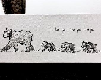 Fine art paper print- I Love You x 3