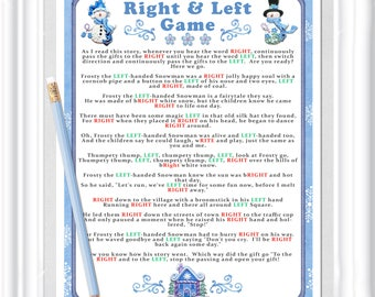 Instant Download WINTER RIGHT and LEFT Story/Game, Christmas party game, Cookie Exchange game, Baby or Bridal shower game,diy Printable