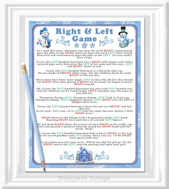 right and left story game christmas party game cookie exchange game