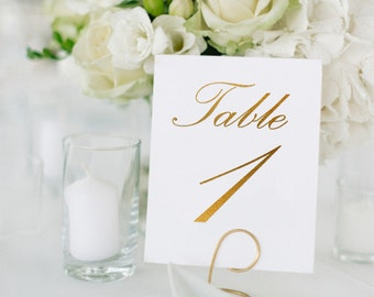 Palace Gold Foil Table Numbers - Gold Table Number Cards - Two Sided - Wedding Table Numbers with Gold Foil #TN123G