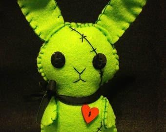 "Zombie Bunny ""Zombunny"" Handmade Felt Plush - Goth, Horror, Creepy Cute, Christmas Stocking Stuffer"