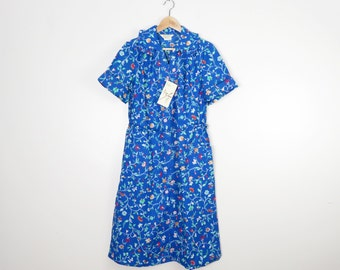 Vintage 70s Deadstock Sears Frilly Collar Floral Cotton House Dress Size M/L