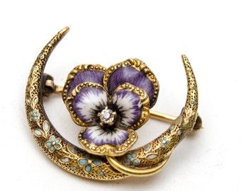 SALE*** 14k Gold and Diamond Enamel Pansy & Crescent Moon Victorian Krementz Honeymoon Brooch