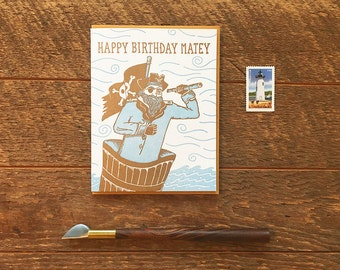 Happy Birthday Matey, Pirate Birthday Card, Kids Birthday Card, Letterpress Card