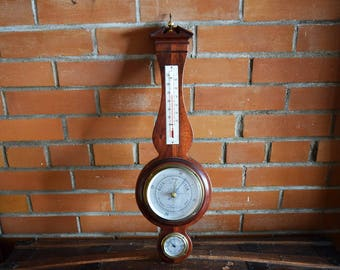 Chicago Airguide Barometer - Solid Mahogany Wood - Large Sized - 100% Functional