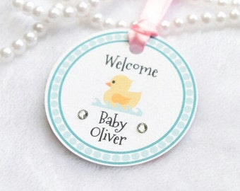 Baby shower tag / Birth announcement - WELCOME set of 10 tags