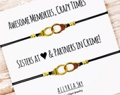 Set of Two Gold or Silver Partners in Crime Handcuff Friendship Bracelets | BFF, Sorority, Best Friend Gift Jewelry | Matching Bracelets
