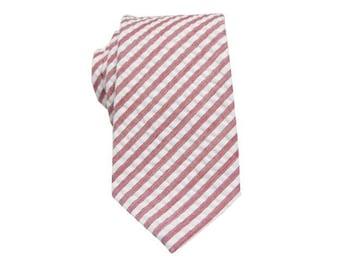 coral seersucker tiemens coral striped necktiesmens tiesgift ideamens