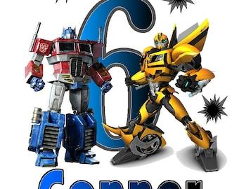Transformers Optimus Prime Bumblebee Birthday custom Iron on Transfer personalized  iron on T-shirt-totes iron on transfer