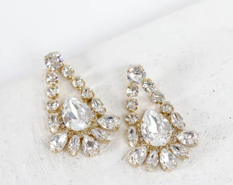 Swarovski Crystal Gold Chandelier Earrings, Bridal Earrings, Crystal Earring, Bridesmaid Jewelry, Prom Jewelry, Special Occasion