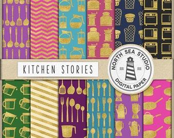 KITCHEN STORIES, Gold Kitchen Paper, Kitchen Tool Collection, Digital Paper, Kitchen Patterns, Gold Foil Kitchen Theme, BUY7FOR10