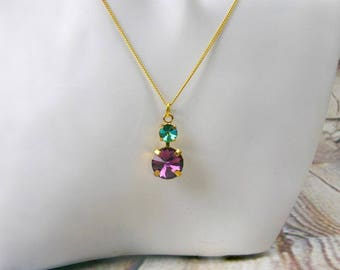 Crystal statement necklace, pendant, necklace crystals, 2 stones pendants, Amethyst, purple, green, handmade, gift birthday