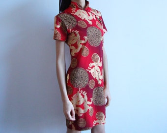 CHEONGSAM DRESS -club kid, party, red, golden, dragons, asian, cyber, 90s, short sleeve, chinese, traditional, qipao, costume, cute-