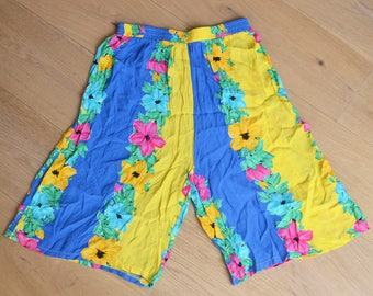 FLORAL SHORTS -hawaiian, summer, beach, 90s, 80s, yellow, blue, pink, green, pants, tropical, boho, hippie, festival-