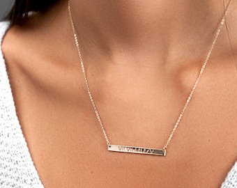 Personalized Bar Necklace, Engravable Necklace, Name Plate Necklace, in Silver, Engraved Necklace, Layered Necklace, Mother's Necklace, H440