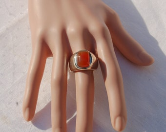 Massive Vintage Silver ring with a  Orange Red Carnelian gem.   Most impressive.