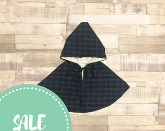 Green Tartan Cape | Hooded Poncho | Hooded Cape | Baby Poncho with hood | Green cape with hood | Tartan Cape